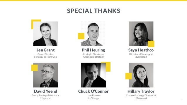 SPECIAL THANKS Jen Grant Group Director, Strategy at Team One 10 Phil Heuring Strategic Planning at Greenberg Strategy Say...