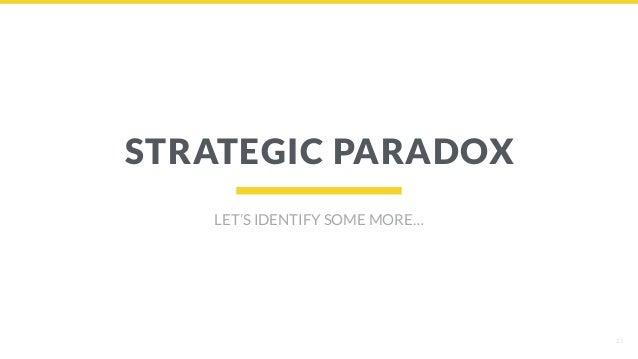 23 STRATEGIC PARADOX LET'S IDENTIFY SOME MORE…