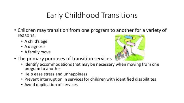 supporting transitions early learning early The transition to pre-kindergarten or kindergarten is not not always easy children and parents may experience some anxiety about the upcoming changes therefore, it is important to prepare children in advance.