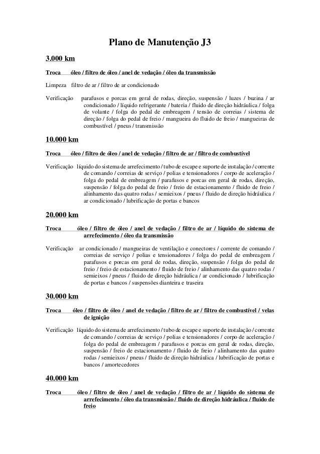 Plano de Manuten��o J3 3.000 km Troca �leo / filtro de �leo / anel de veda��o / �leo da transmiss�o Limpeza filtro de ar /...