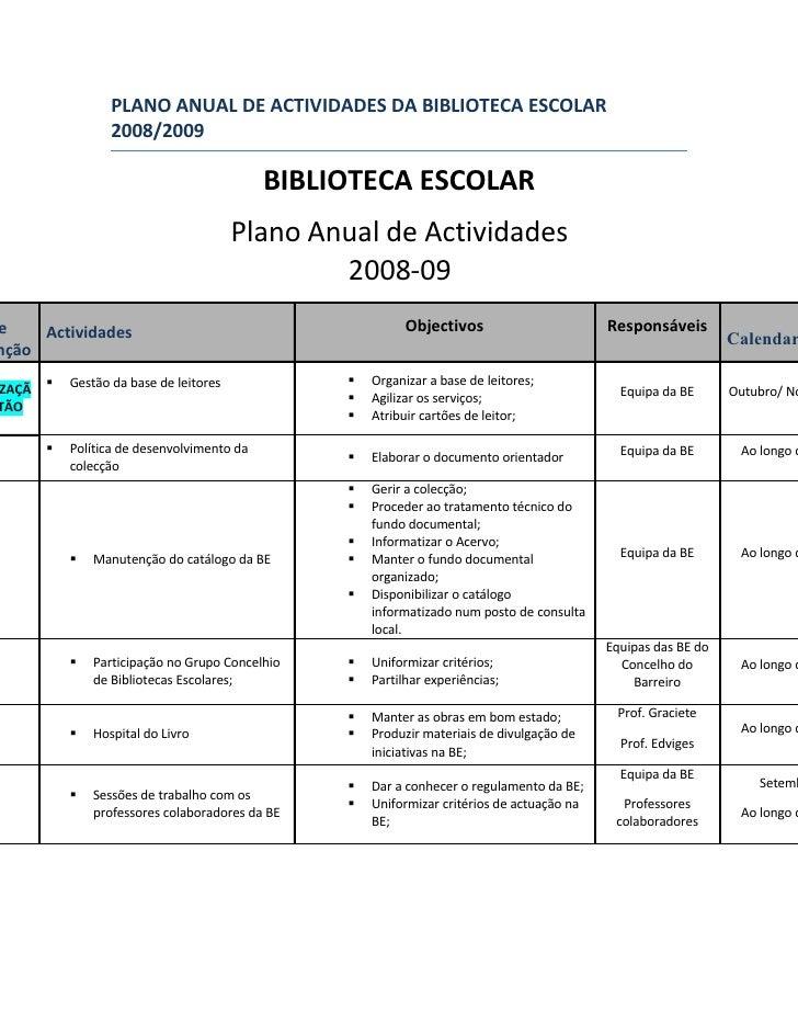 PLANO ANUAL DE ACTIVIDADES DA BIBLIOTECA ESCOLAR                  2008/2009                                             BI...