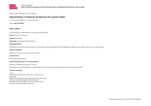 Planos de aula / Matemática / 3º ano / Números Representação e ordenação de números até a quarta ordem. Por: Yana Yê dos S...