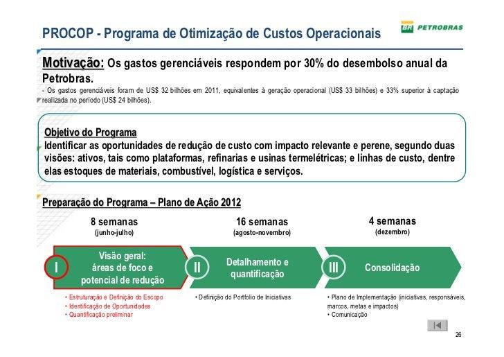 PROCOP - Programa de Otimização de Custos OperacionaisMotivação: Os gastos gerenciáveis respondem por 30% do desembolso an...