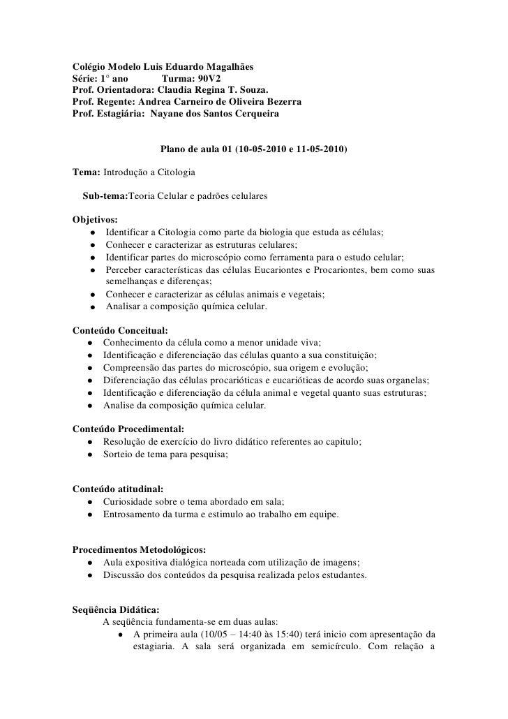 Colégio Modelo Luis Eduardo Magalhães Série: 1° ano       Turma: 90V2 Prof. Orientadora: Claudia Regina T. Souza. Prof. Re...