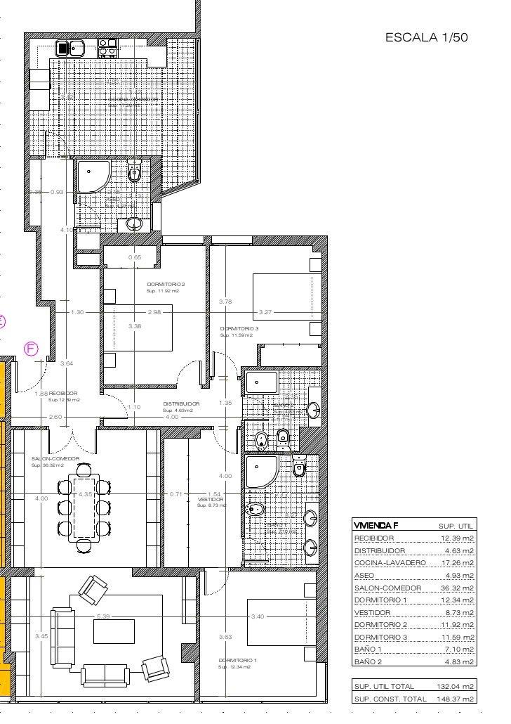 Plano 7 f camilo veiga acotado for Planos arquitectonicos de casas