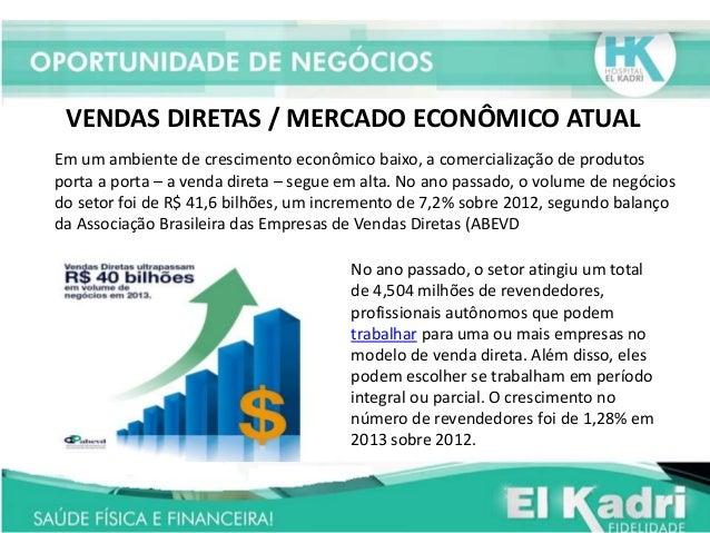 VENDAS DIRETAS / MERCADO ECONÔMICO ATUAL Em um ambiente de crescimento econômico baixo, a comercialização de produtos port...