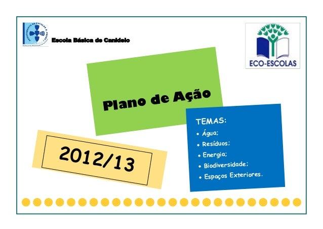Escola Básica de CanideloPlano de AçãoTEMAS: Água; Resíduos; Energia; Biodiversidade; Espaços Exteriores.2012/13