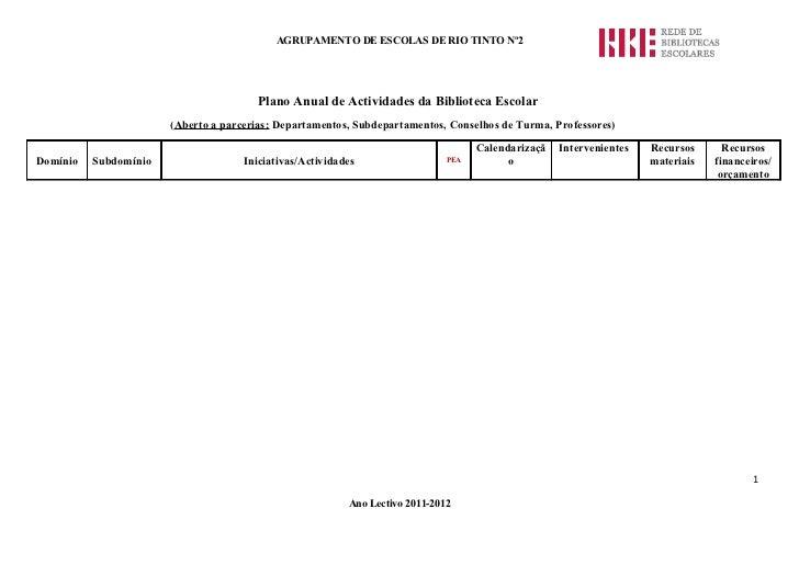 AGRUPAMENTO DE ESCOLAS DE RIO TINTO Nº2                                       Plano Anual de Actividades da Biblioteca Esc...