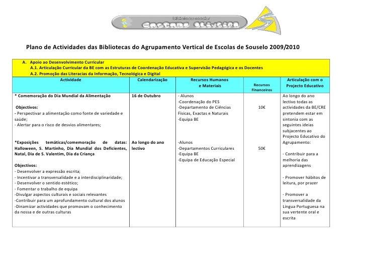 Plano de Actividades das Bibliotecas do Agrupamento Vertical de Escolas de Souselo 2009/2010      A. Apoio ao Desenvolvime...