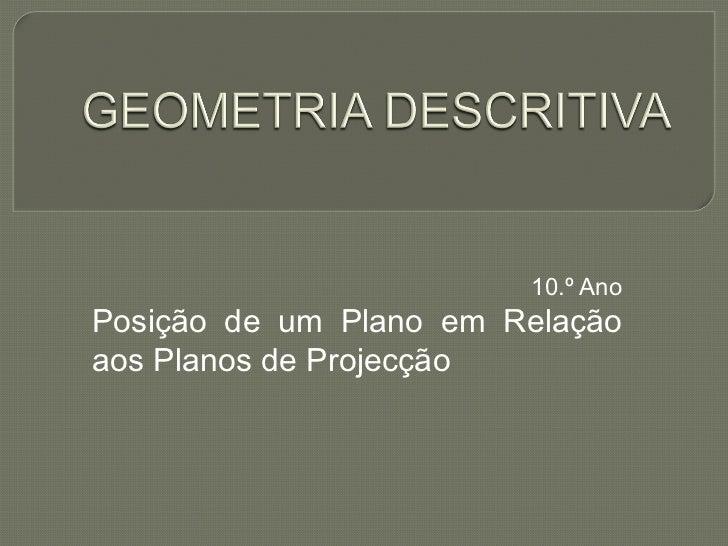 10.º Ano Posição de um Plano em Relação aos Planos de Projecção