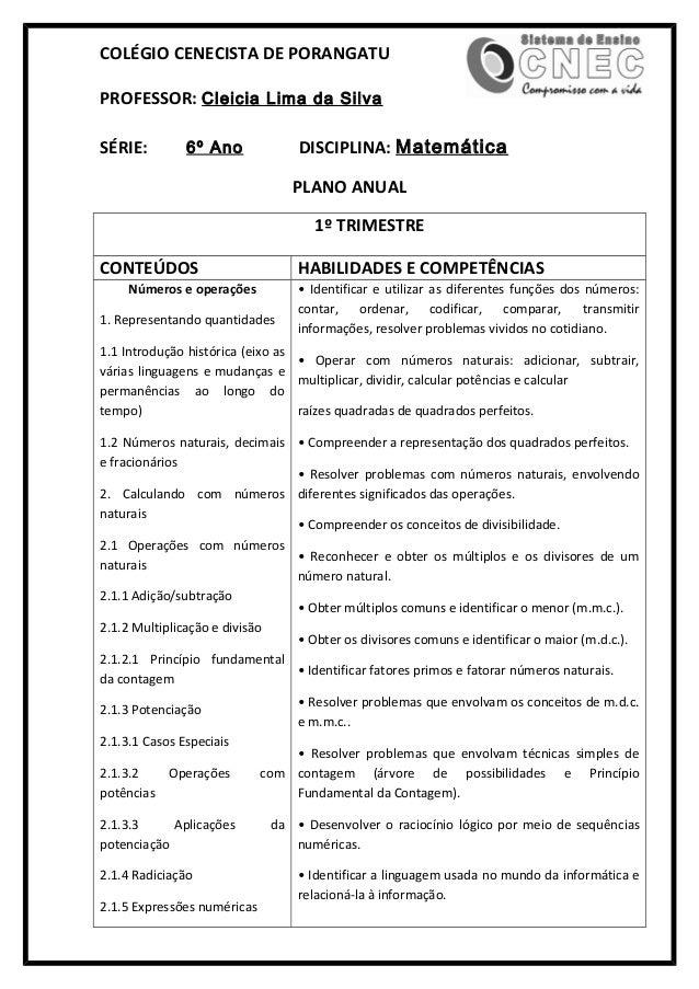 COLÉGIO CENECISTA DE PORANGATU PROFESSOR: Cleicia Lima da Silva SÉRIE: 6º Ano DISCIPLINA: Matemática PLANO ANUAL 1º TRIMES...