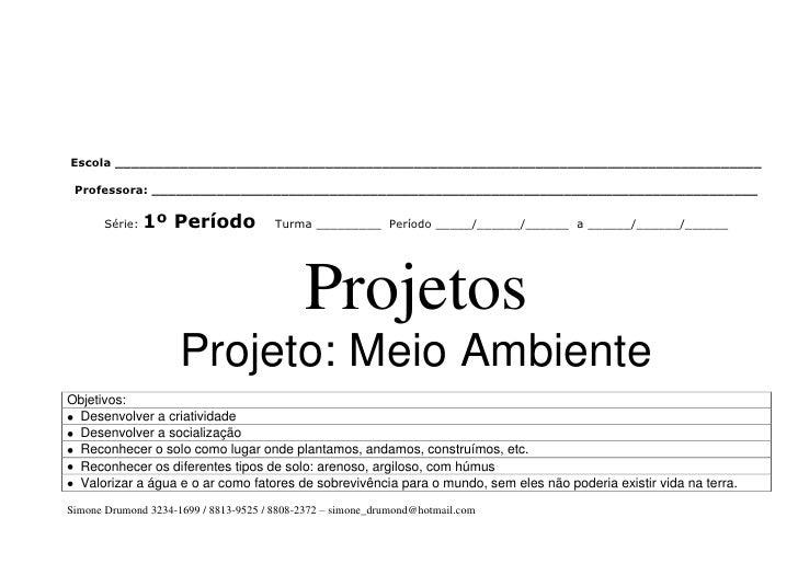 Plano anual 1 per odo por m s simone drumond for Mural sobre o meio ambiente