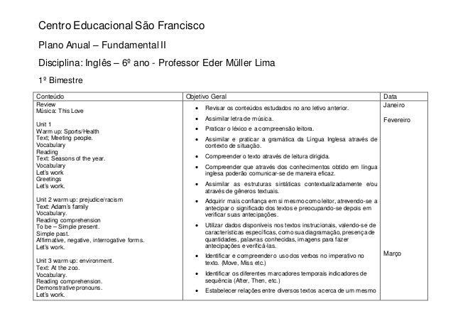 Centro Educacional São Francisco Plano Anual – Fundamental II Disciplina: Inglês – 6º ano - Professor Eder Müller Lima 1º ...