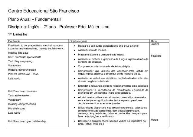 Centro Educacional São Francisco Plano Anual – Fundamental II Disciplina: Inglês – 7º ano - Professor Eder Müller Lima 1º ...