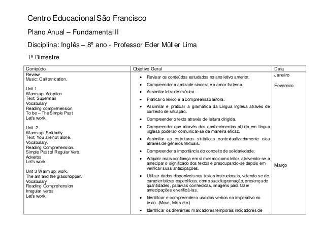 Centro Educacional São Francisco Plano Anual – Fundamental II Disciplina: Inglês – 8º ano - Professor Eder Müller Lima 1º ...