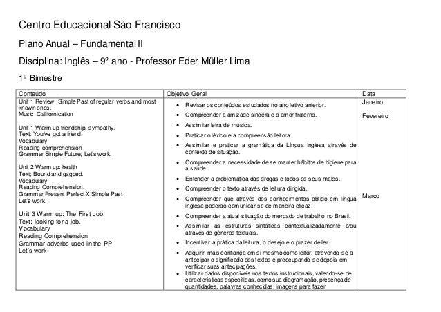 Centro Educacional São Francisco Plano Anual – Fundamental II Disciplina: Inglês – 9º ano - Professor Eder Müller Lima 1º ...