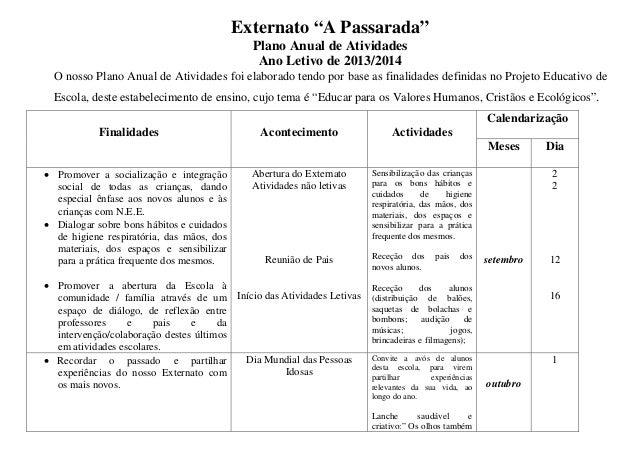 """Externato """"A Passarada"""" Plano Anual de Atividades Ano Letivo de 2013/2014 O nosso Plano Anual de Atividades foi elaborado ..."""