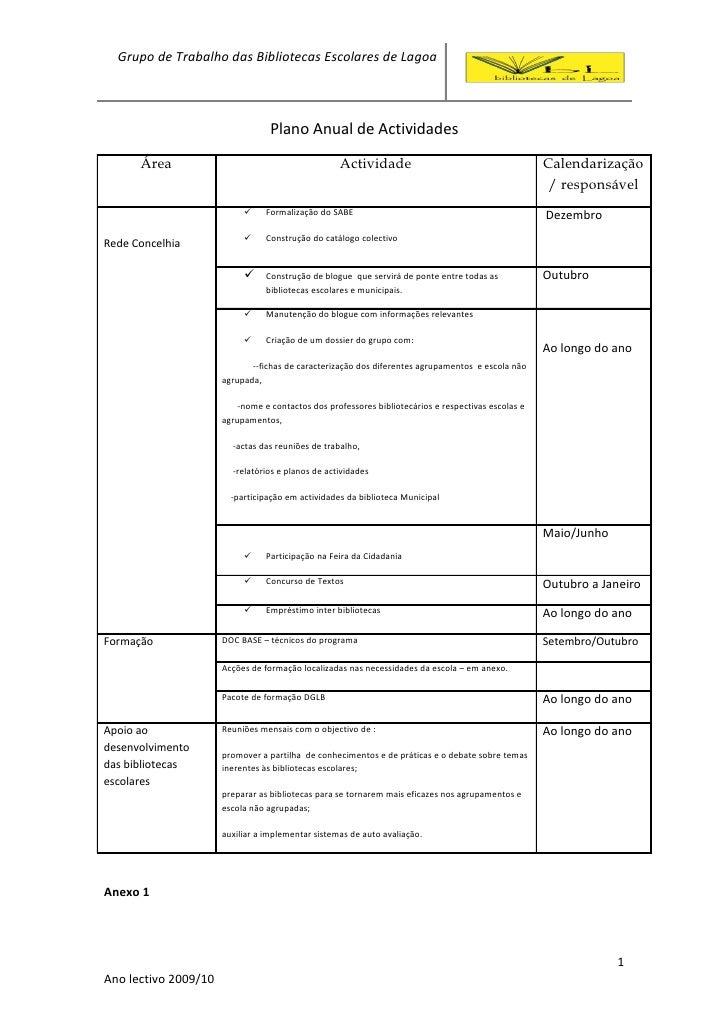 Grupo de Trabalho das Bibliotecas Escolares de Lagoa                                      Plano Anual de Actividades      ...