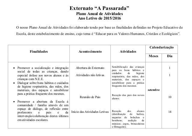 """Externato """"A Passarada"""" Plano Anual de Atividades Ano Letivo de 2015/2016 O nosso Plano Anual de Atividades foi elaborado ..."""