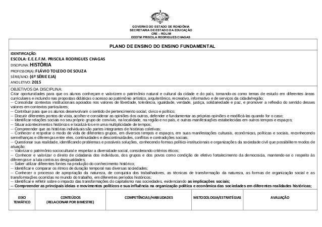 GOVERNO DO ESTADO DE RONDÔNIA SECRETARIA DE ESTADO DA EDUCAÇÃO CRE – ROLIM EEEFM PRISCILA RODRIGUES CHAGAS PLANO DE ENSINO...