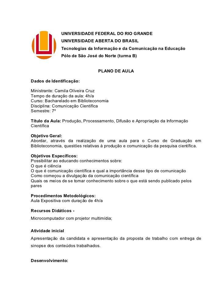 UNIVERSIDADE FEDERAL DO RIO GRANDE               UNIVERSIDADE ABERTA DO BRASIL               Tecnologias da Informação e d...