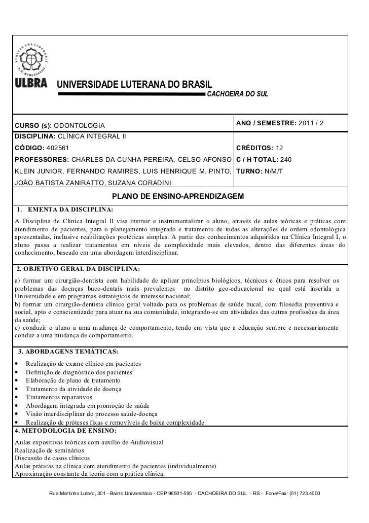 Plano clinica integral ii 2011.2