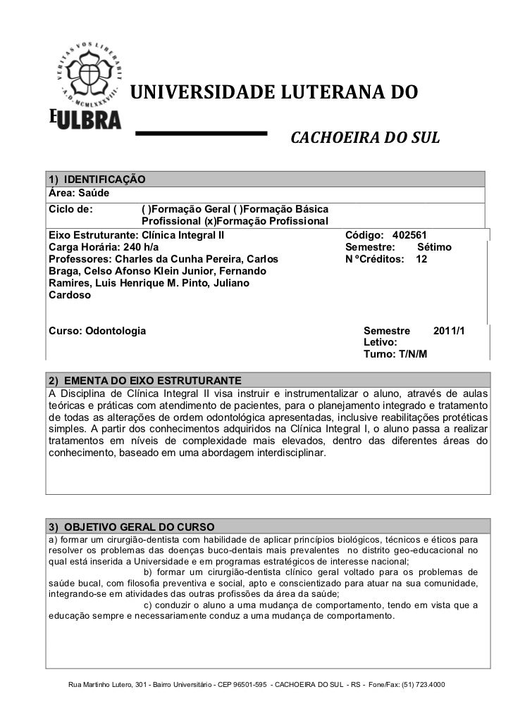 UNIVERSIDADE LUTERANA DO BRASIL                                                                       CACHOEIRA ...