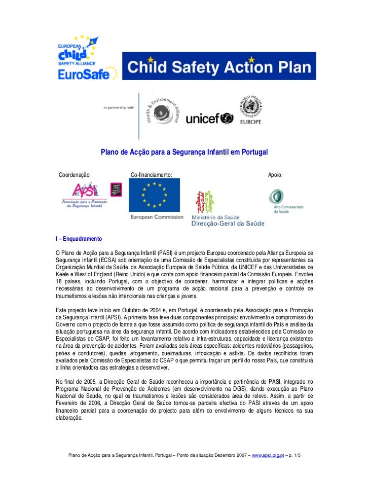 Plano de Acção para a Segurança Infantil em Portugal Coordenação:                     Co-financiamento:                   ...