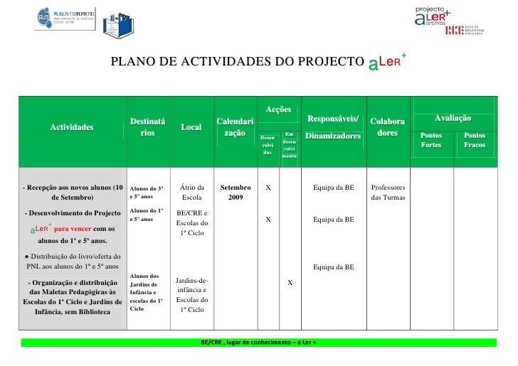 +                               PLANO DE ACTIVIDADES DO PROJECTO aLeR                                                     ...