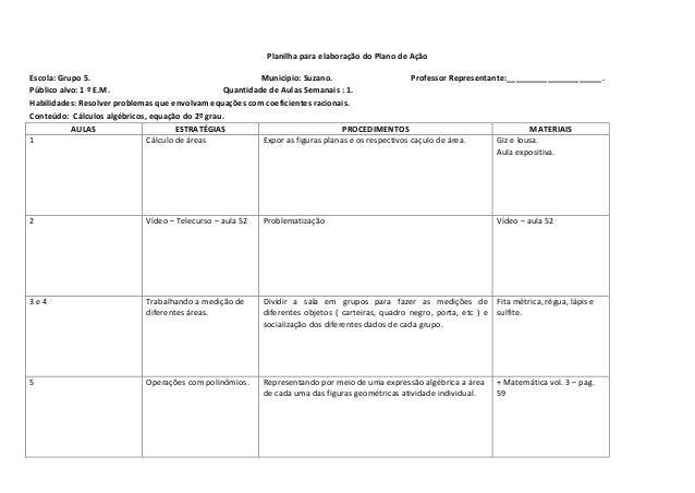 Planilha para elaboração do Plano de Ação Escola: Grupo 5. Município: Suzano. Professor Representante:____________________...