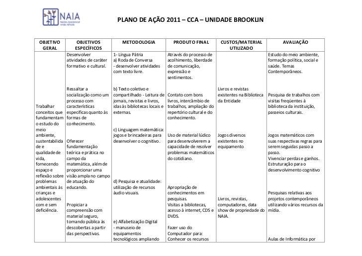 PLANO DE AÇÃO 2011 – CCA – UNIDADE BROOKLIN OBJETIVO          OBJETIVOS              METODOLOGIA                   PRODUTO...