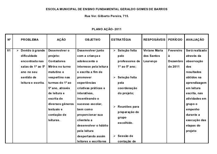 ESCOLA MUNICIPAL DE ENSINO FUNDAMENTAL GERALDO GOMES DE BARROS                                                     Rua Ver...