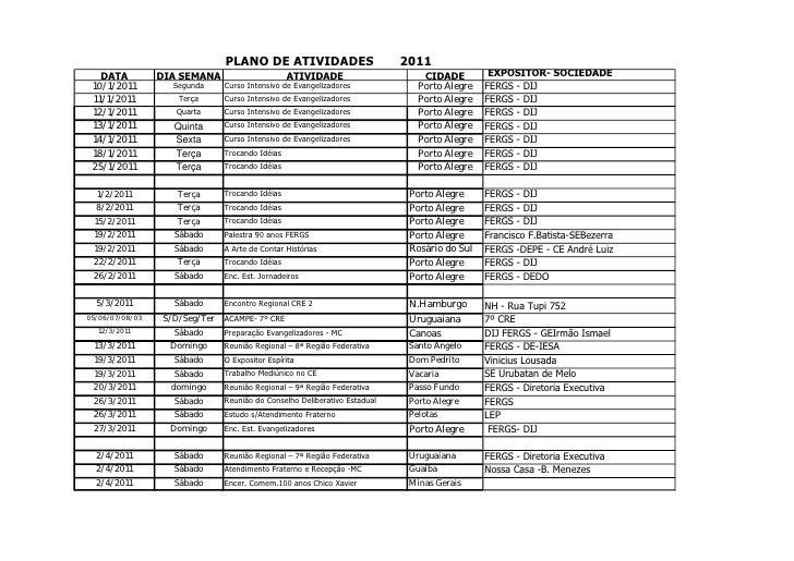 PLANO DE ATIVIDADES                         2011   DATA          DIA SEMANA                      ATIVIDADE                ...