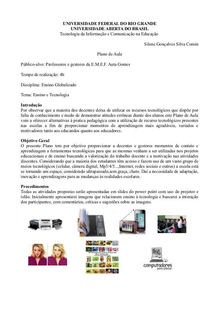 UNIVERSIDADE FEDERAL DO RIO GRANDE                           UNIVERSIDADE ABERTA DO BRASIL                      Tecnologia...