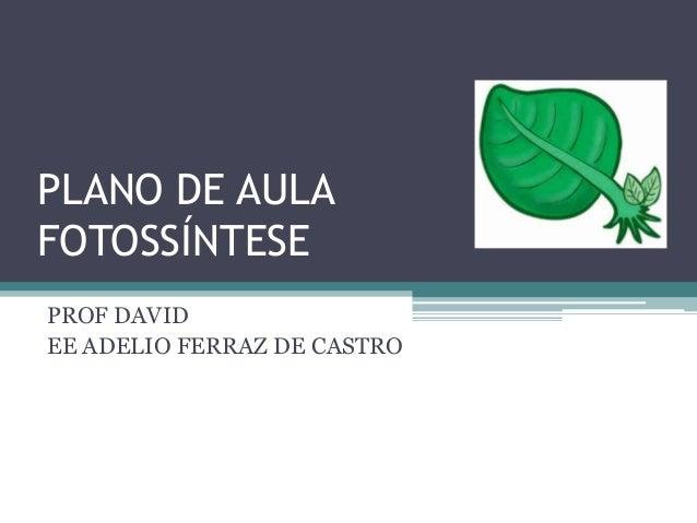 PLANO DE AULAFOTOSSÍNTESEPROF DAVIDEE ADELIO FERRAZ DE CASTRO