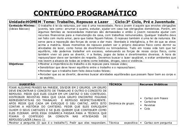 CONTEÚDO PROGRAMÁTICO Unidade:HOMEM Tema: Trabalho, Repouso e Lazer Ciclo:3º Ciclo, Pré e Juventude Conteúdo Mínimo: (Idei...