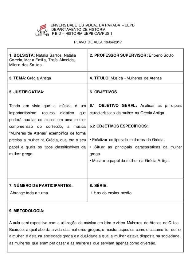 UNIVERSIDADE ESTADUAL DA PARAÍBA – UEPB DEPARTAMENTO DE HISTÓRIA PIBID – HISTÓRIA UEPB CAMPUS I PLANO DE AULA 19/04/2017 1...