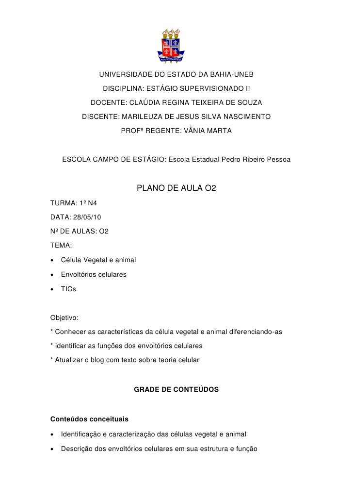 UNIVERSIDADE DO ESTADO DA BAHIA-UNEB                  DISCIPLINA: ESTÁGIO SUPERVISIONADO II               DOCENTE: CLAÚDIA...