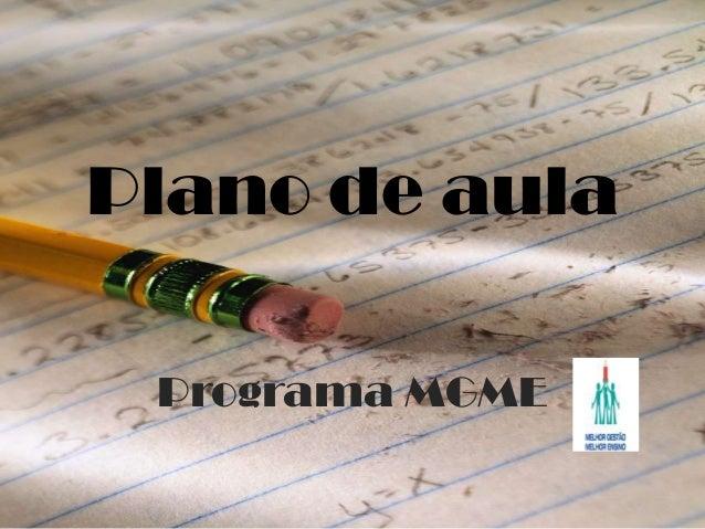 Plano de aulaPrograma MGME
