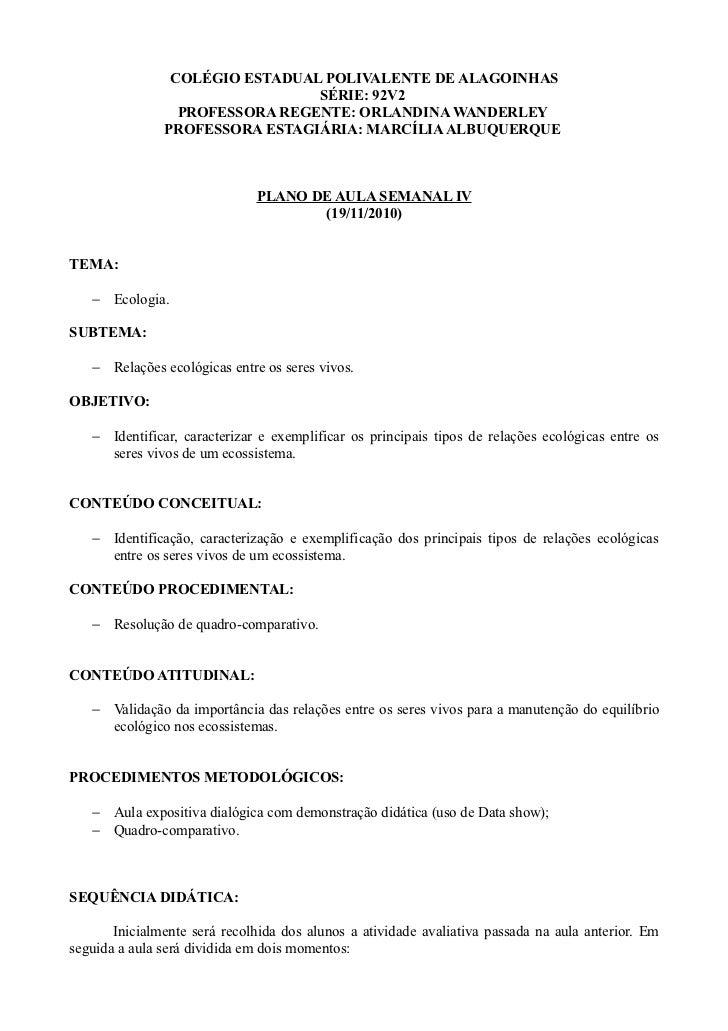 COLÉGIO ESTADUAL POLIVALENTE DE ALAGOINHAS                                SÉRIE: 92V2                 PROFESSORA REGENTE: ...