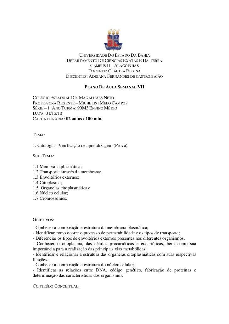 UNIVERSIDADE DO ESTADO DA BAHIA                  DEPARTAMENTO DE CIÊNCIAS EXATAS E DA TERRA                              C...