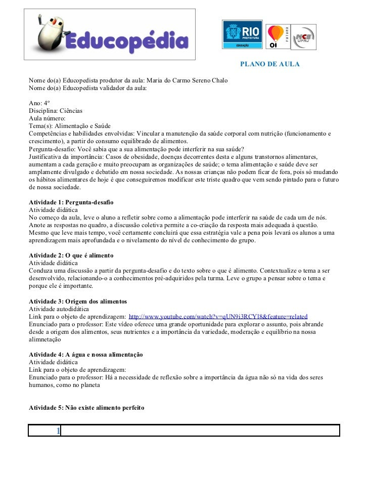 PLANO DE AULANome do(a) Educopedista produtor da aula: Maria do Carmo Sereno ChaloNome do(a) Educopedista validador da aul...