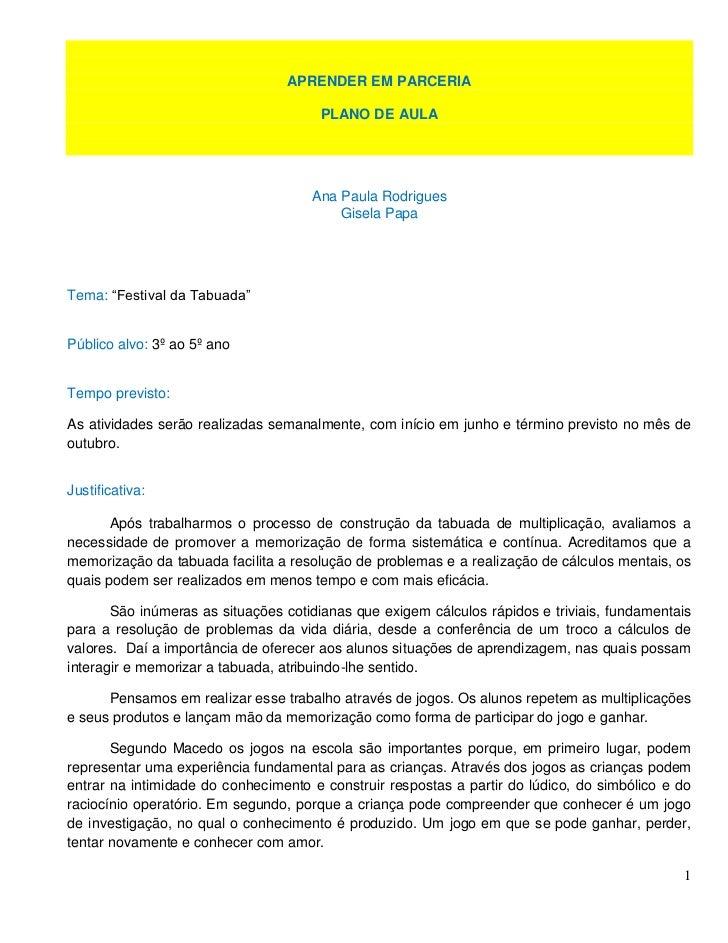APRENDER EM PARCERIA                                      PLANO DE AULA                                     Ana Paula Rodr...