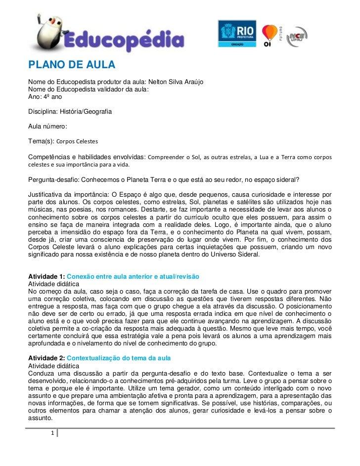 PLANO DE AULA<br />Nome do Educopedista produtor da aula: Nelton Silva Araújo<br />Nome do Educopedista validador da aula:...