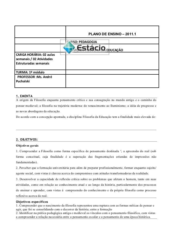 PLANO DE ENSINO – 2011.1                                      CURSO: PEDAGOGIA                                      DISCIP...