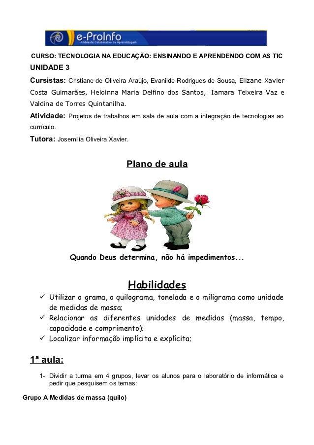 CURSO: TECNOLOGIA NA EDUCAÇÃO: ENSINANDO E APRENDENDO COM AS TIC  UNIDADE 3  Cursistas: Cristiane de Oliveira Araújo, Evan...