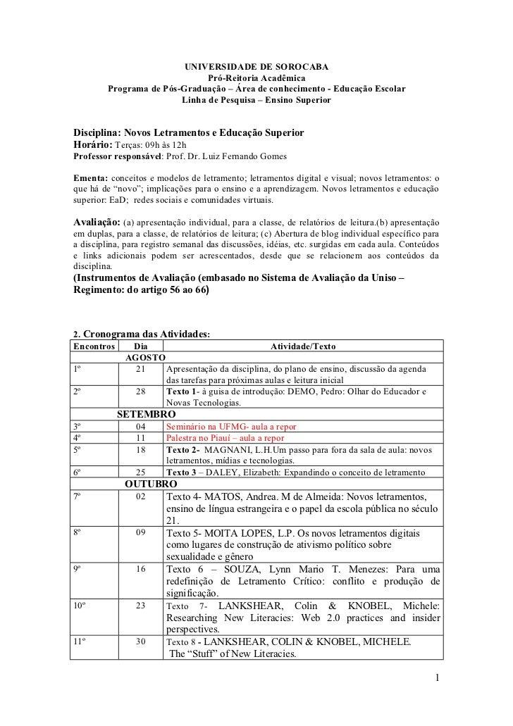 UNIVERSIDADE DE SOROCABA                               Pró-Reitoria Acadêmica         Programa de Pós-Graduação – Área de ...