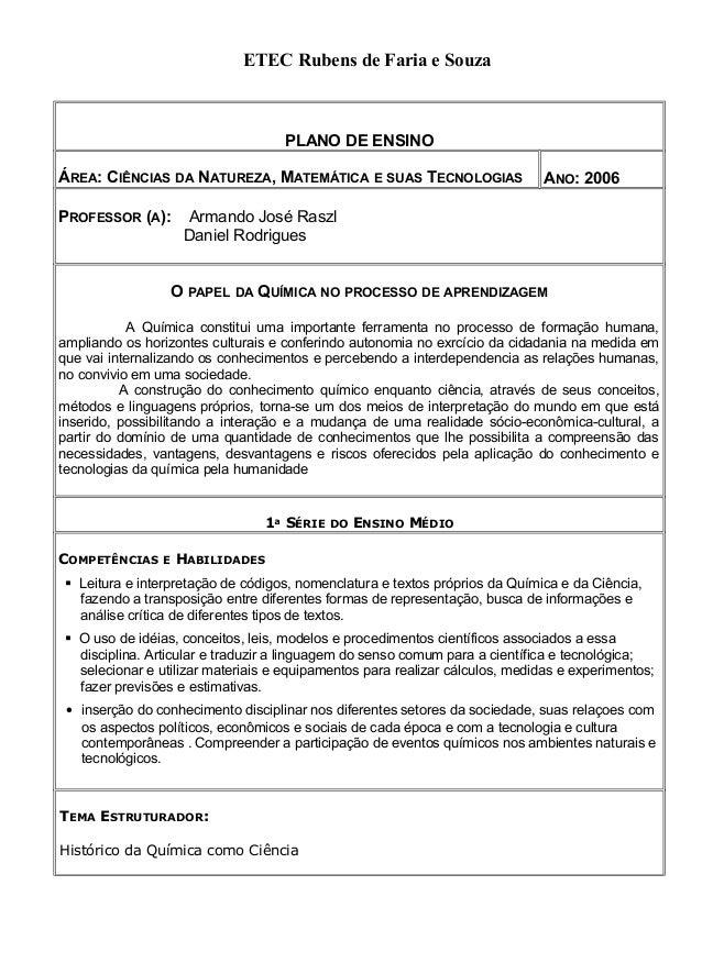 PLANO DE ENSINO ÁREA: CIÊNCIAS DA NATUREZA, MATEMÁTICA E SUAS TECNOLOGIAS ANO: 2006 PROFESSOR (A): Armando José Raszl Dani...