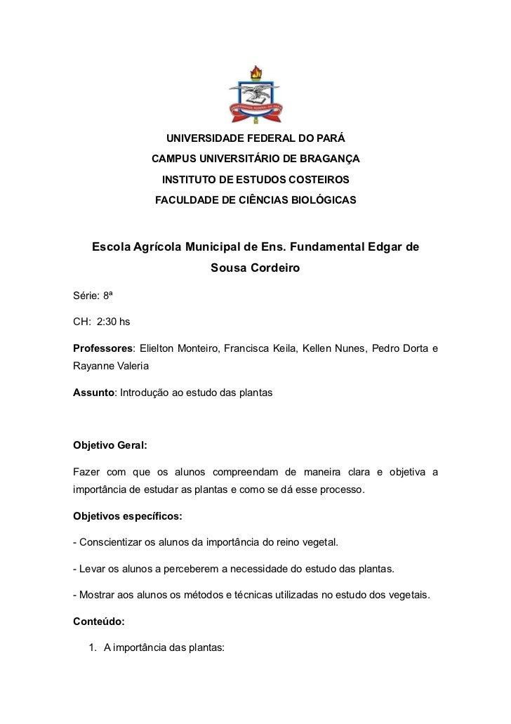 UNIVERSIDADE FEDERAL DO PARÁ                  CAMPUS UNIVERSITÁRIO DE BRAGANÇA                   INSTITUTO DE ESTUDOS COST...