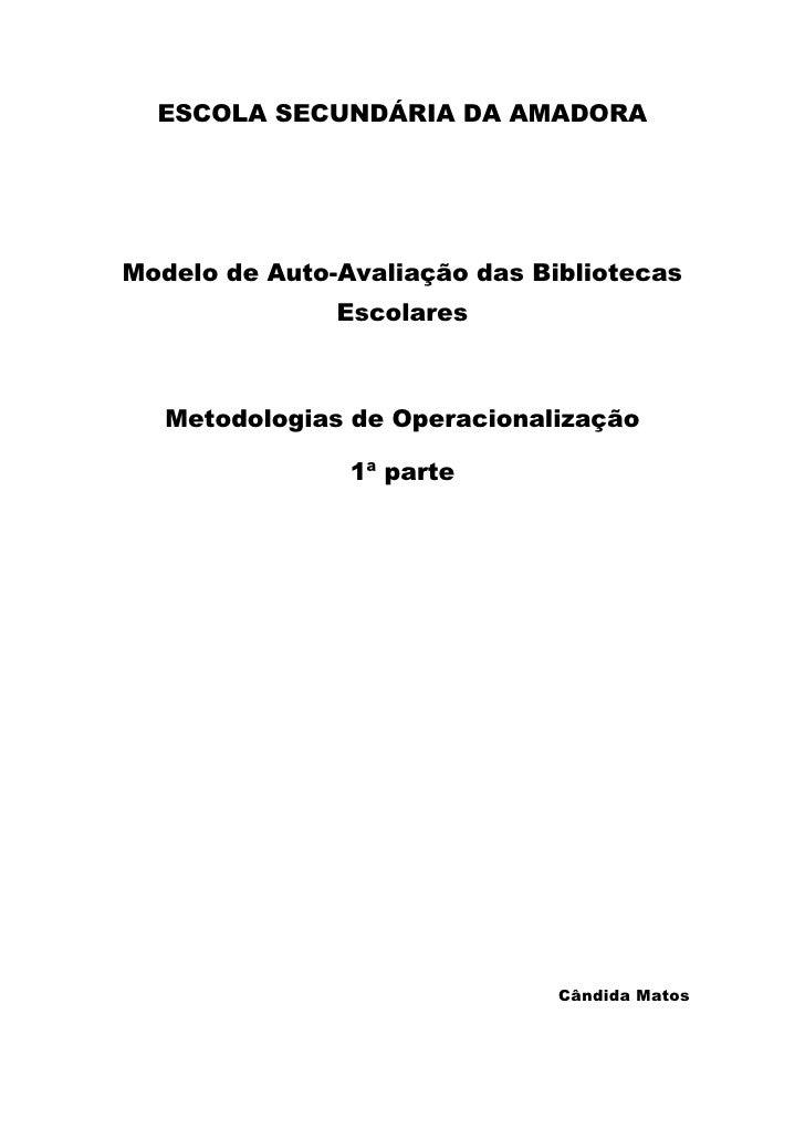 ESCOLA SECUNDÁRIA DA AMADORA<br />Modelo de Auto-Avaliação das Bibliotecas Escolares<br />Metodologias de Operacionalizaçã...